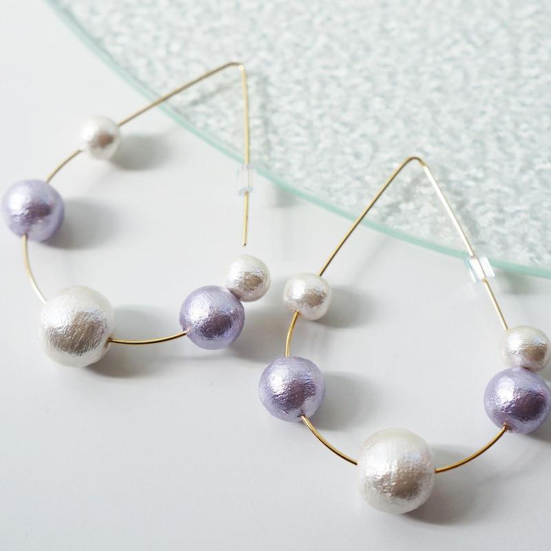 bubble pierced earrings purple