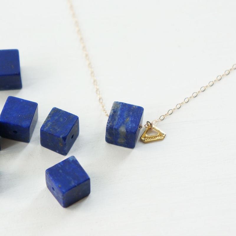 K14gf lapis lazuli cube necklace
