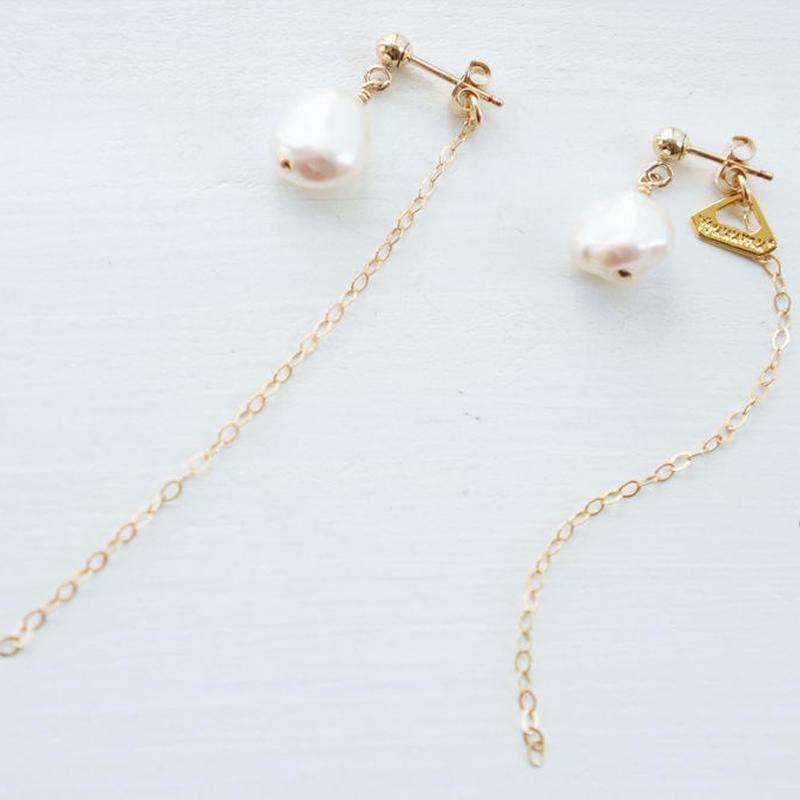 K14gf pearl×long chain ピアス