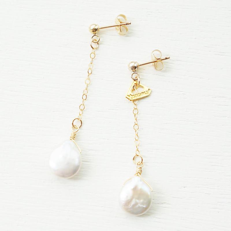 K14gf drop freshwater pearl pierce