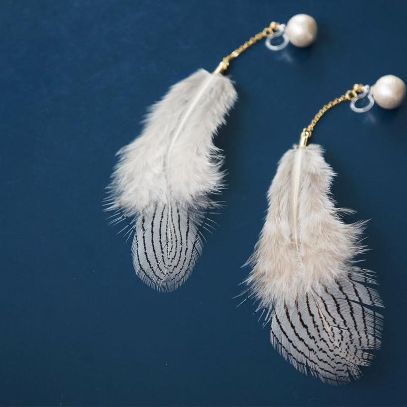 2WAY stripe feather earring (樹脂イヤリング)