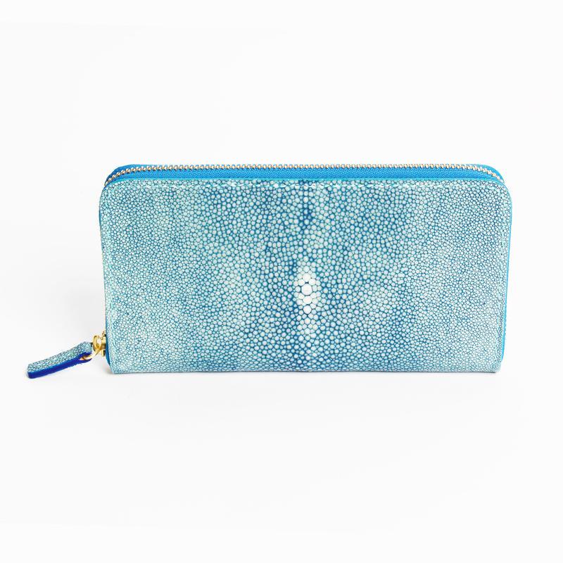 ラウンドファスナー長財布(天然藍染)