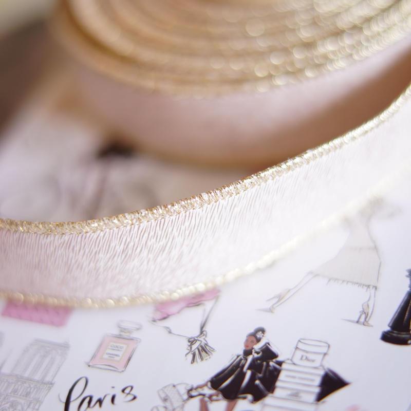 luxury hard ribbon pink gold太幅