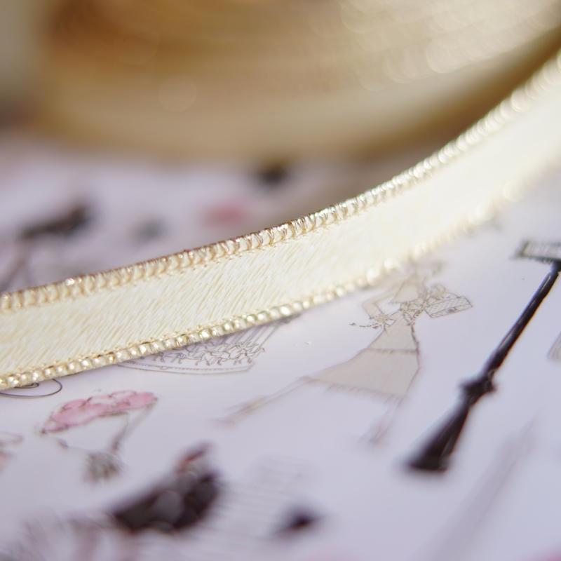 luxury hard ribbon ivory gold s