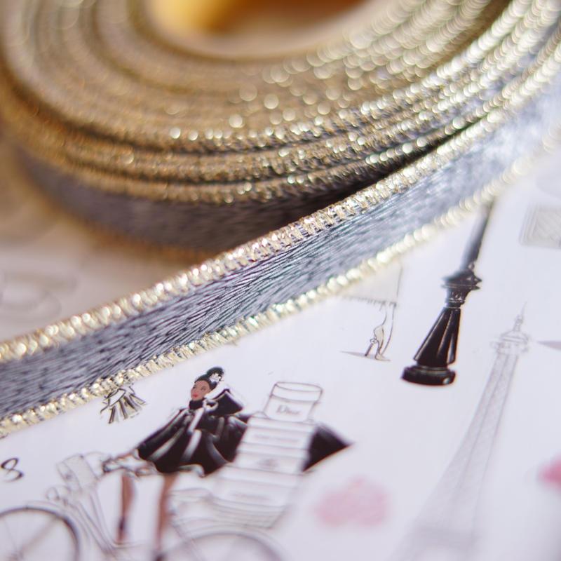luxury hard ribbon grey gold s