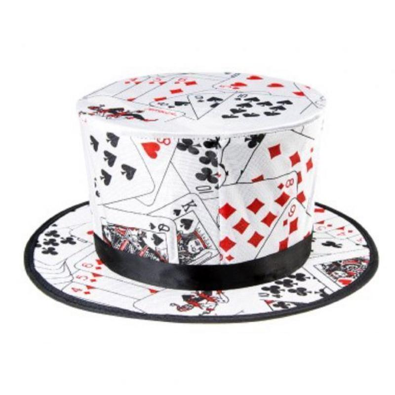 フォールディング・トップハット(トランプ柄)<トップハットにトランプ柄>【G0163】Poker Pattern Folding Spring Magic Hat