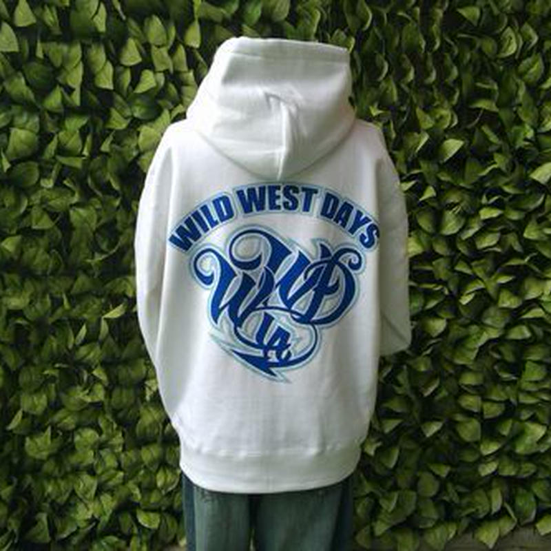 WILDWESTDAYS  zip hood / WWD LA BACKPRINT (Color: White / Blue)