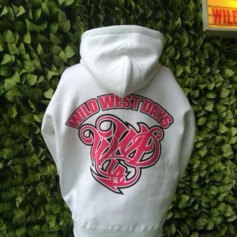 WILDWESTDAYS  zip hood / WWD LA BACKPRINT (Color: White / Pink)