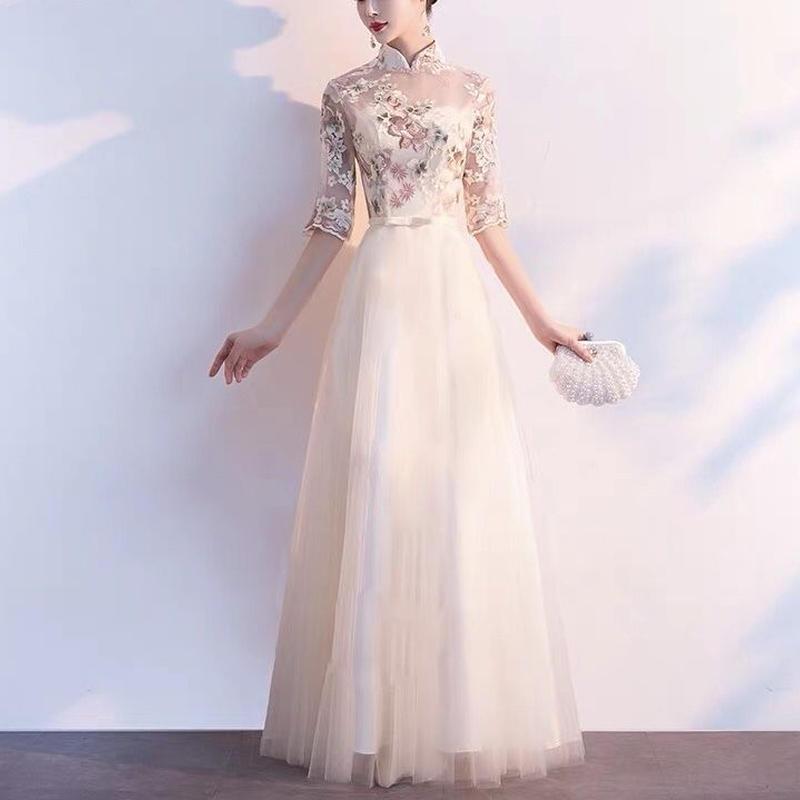 刺繍 チャイナドレス風 華やか ロング丈 結婚式 大きいサイズ