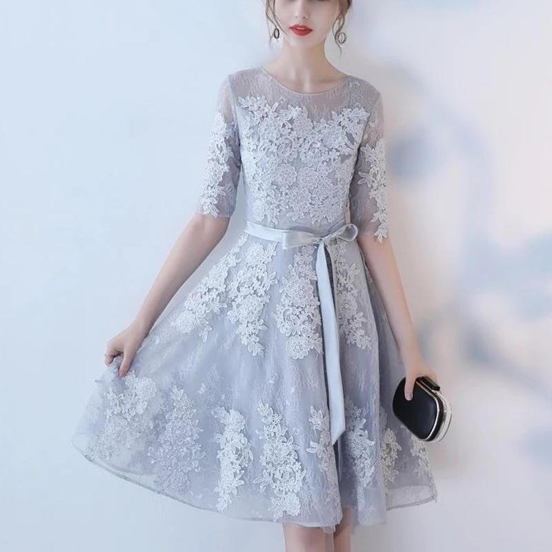 ドレス レースチュールワンピース 結婚式パーティー