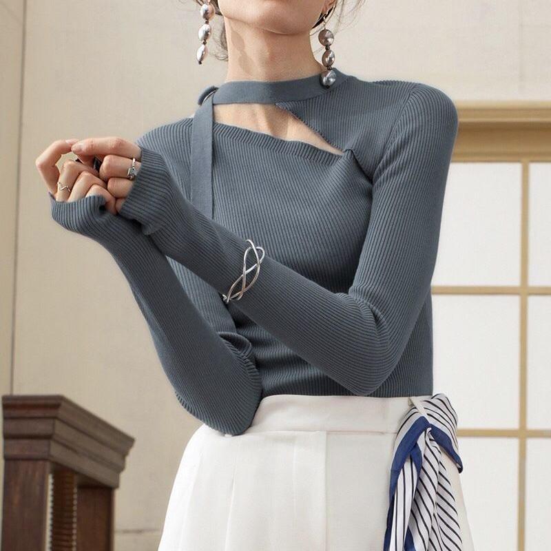 チョイセクシー 不規則 新作 リブニット 鎖骨チラ見せ 長袖 三色