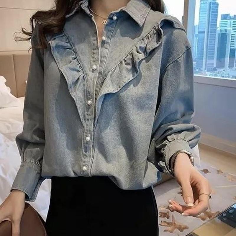 パールボタン デニムシャツ フリルライン 長袖 2color