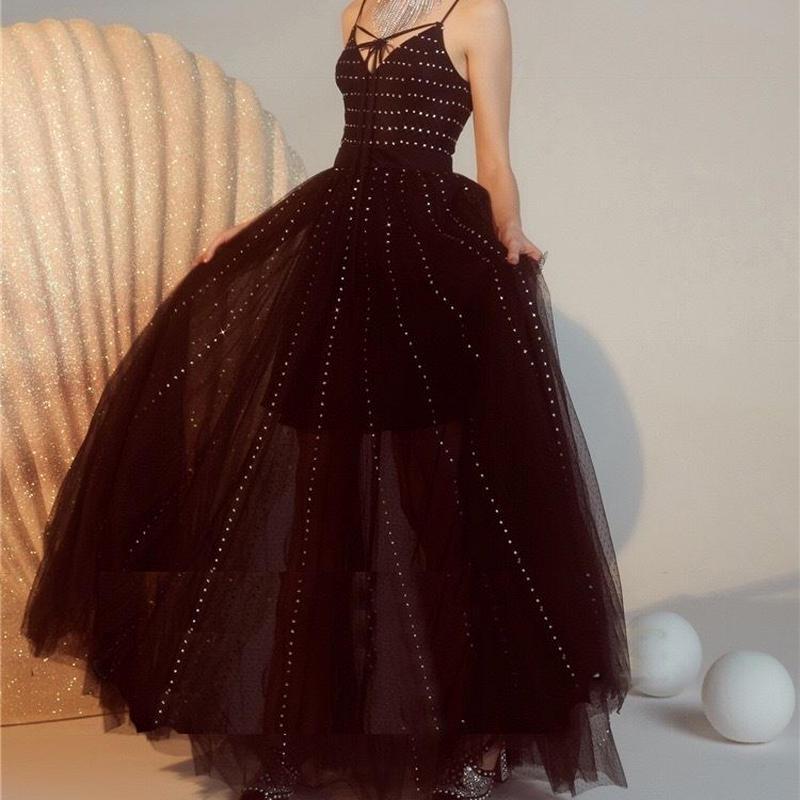 ロングドレス ブラック チュール スパンコール 結婚式 パーティー