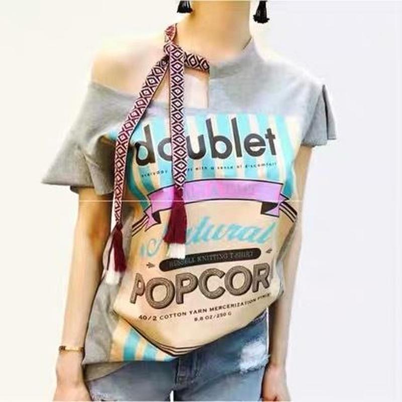 肩出し 半袖Tシャツ プリント 個性的 ゆるフィット カジュアル 3color