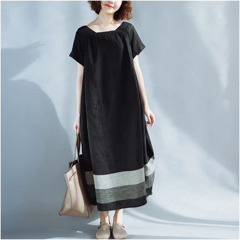 ナチュラルワンピース 半袖 配色 体型カバー 大人スタイル 夏定番