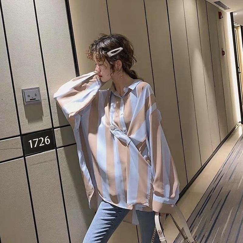 長袖 シフォンシャツ ブラウス ストライプ オーバーサイズ 3色