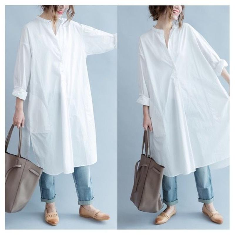 ゆったり ホワイトシャツワンピース 大人スタイル 体型カバー