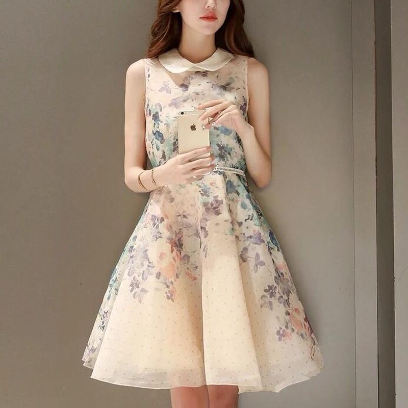 SALE# 花柄 オーガンジーフレアスカート ワンピース