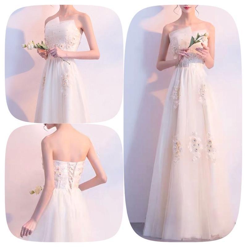 マキシ丈 花柄 刺繍 チュール ベアトップ 結婚式 ドレス