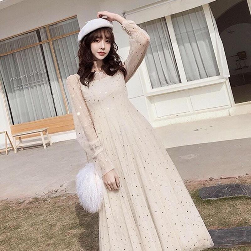オーガンジー  ロング丈ワンピース ドレス シースルー  春 新作