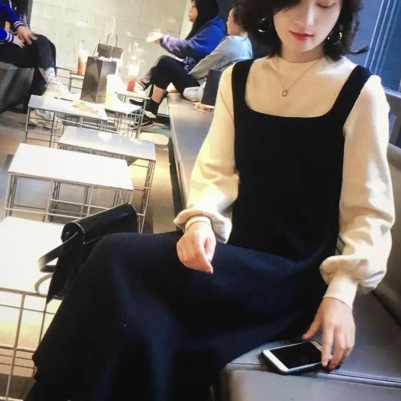Aライン シンプル ニットワンピース バイカラー フレアスカート 2color