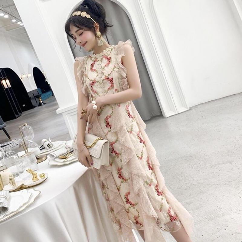ノースリーブドレス 膝丈 花柄刺繍 春色ワンピース パーティー