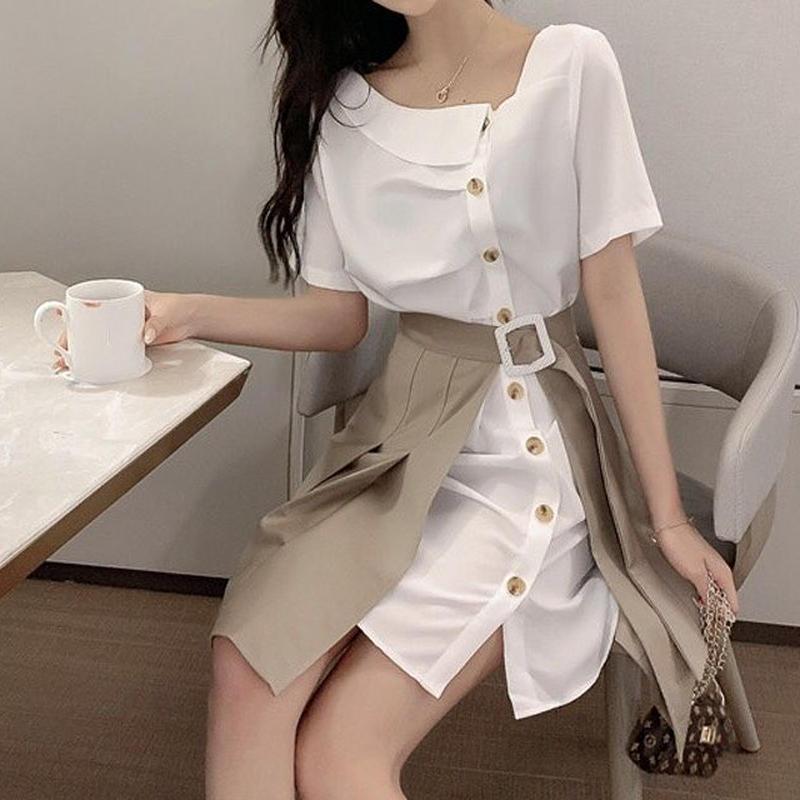 セットアップ ロングシャツ+スカート オフショルダー風 二色