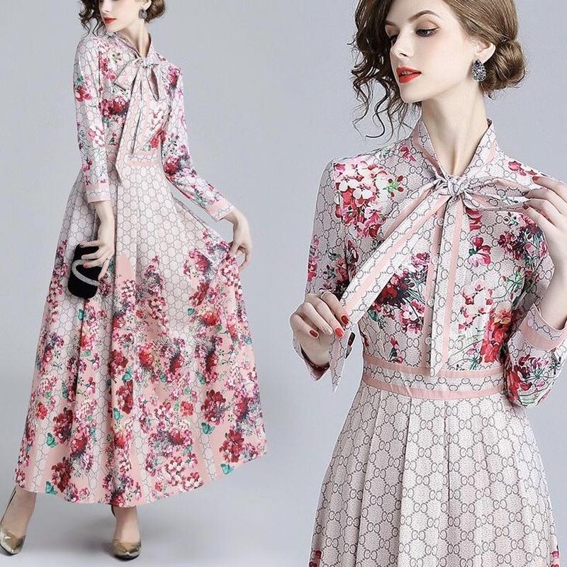 花柄 ネックリボン マキシワンピース 春色 長袖 ドレス