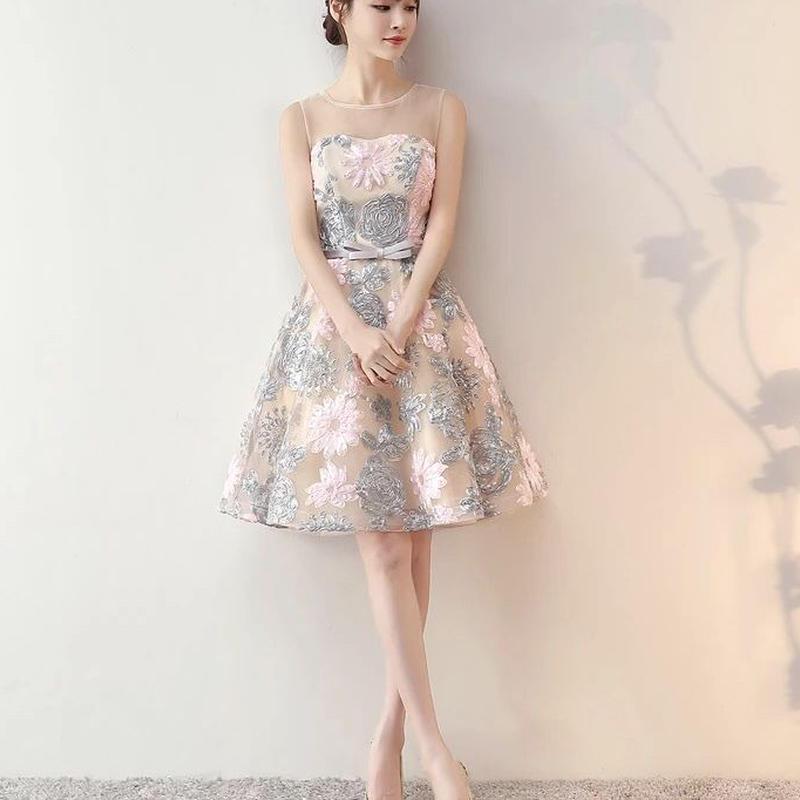 花柄刺繍 オーガンジー 結婚式パーティードレスワンピース 大きいサイズ有◎