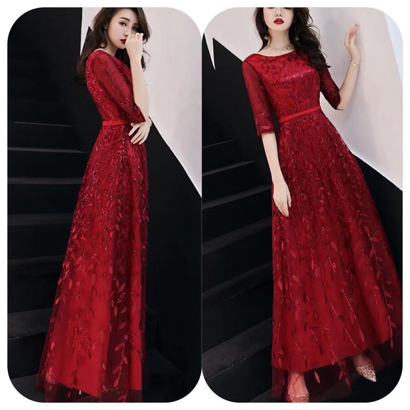 ロング丈 エレガント 刺繍 ドレス 半袖 レッド チュール キャバドレス