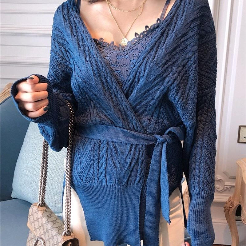 ざっくり編み カーディガントップス ベルト付き 4色