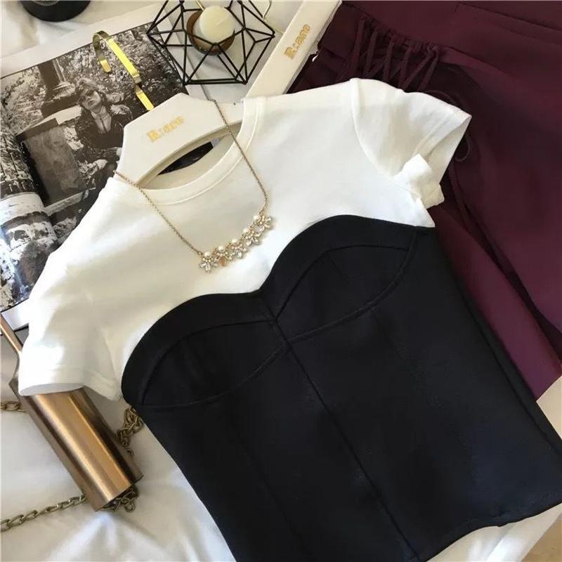 ドッキング Tシャツ 半袖 大人可愛い プチプラ 夏コーデ