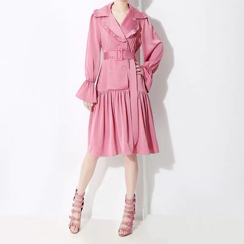 ピンク 薄手 春 ジャケット式 ワンピース フリルライン