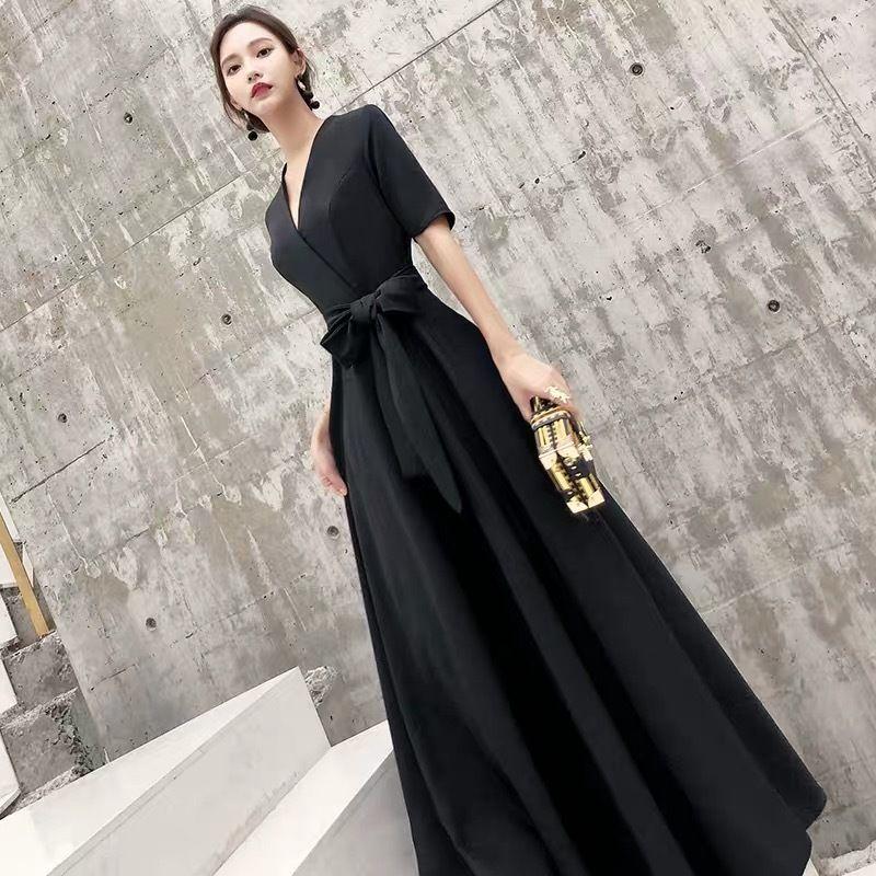 ロングドレス ウエストマーク 半袖ワンピース vネック 結婚式
