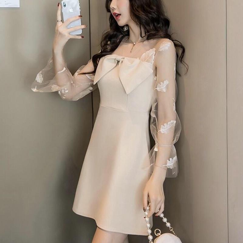 シースルー ミニ丈 リボン 透け感 キャバドレス 3color