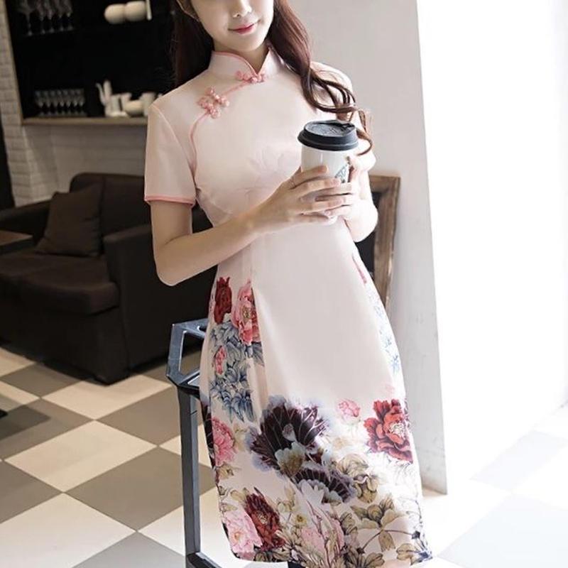 SALE# Sサイズ チャイナドレス風 ハイネック 花柄プリント