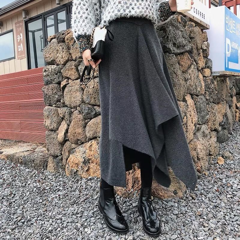 Aライン 不規則 クラシック カジュアル 秋冬ニットスカート 全三色