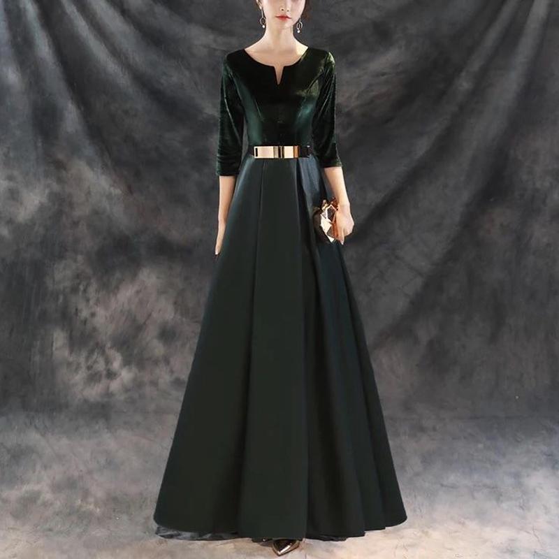 Aライン エレガント ベロアロング丈ドレス 結婚式 パーティー 大きいサイズ有