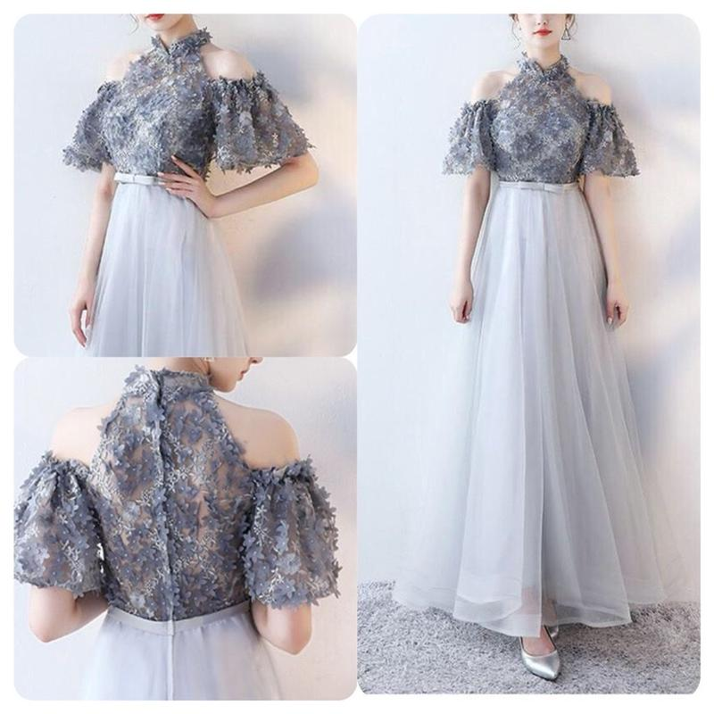 刺繍 ホルターネック オフショルダー ロング丈ワンピース 花モチーフ ドレス