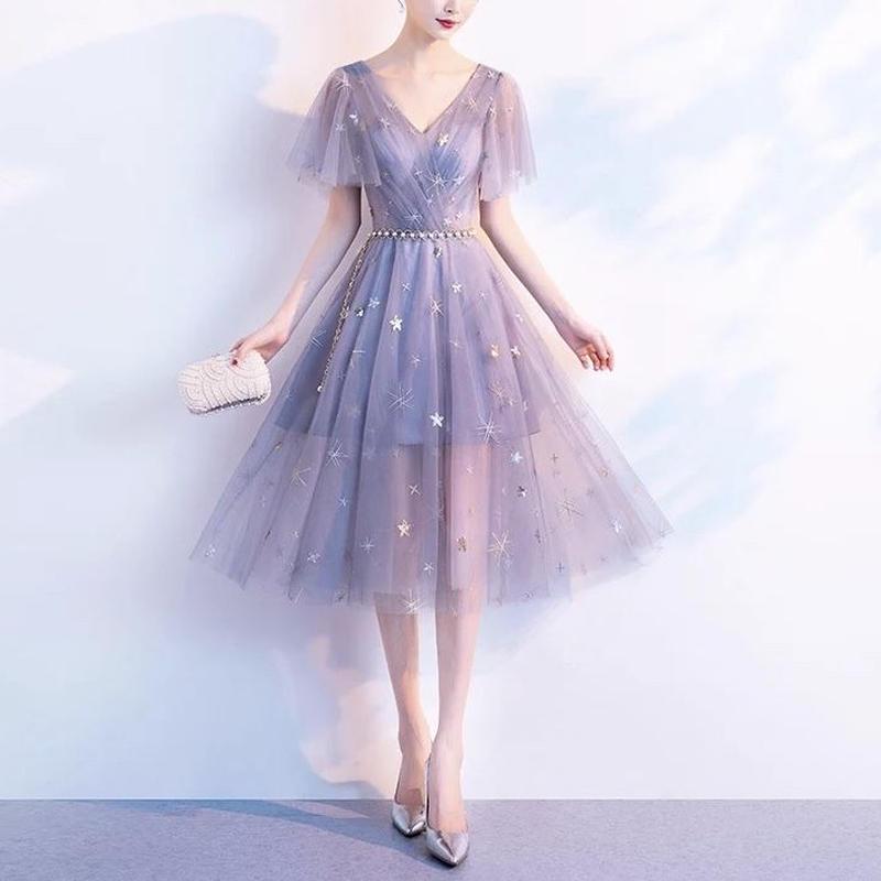 vネック 星柄 半袖 オーガンジー 膝丈ワンピース 結婚式 ドレス