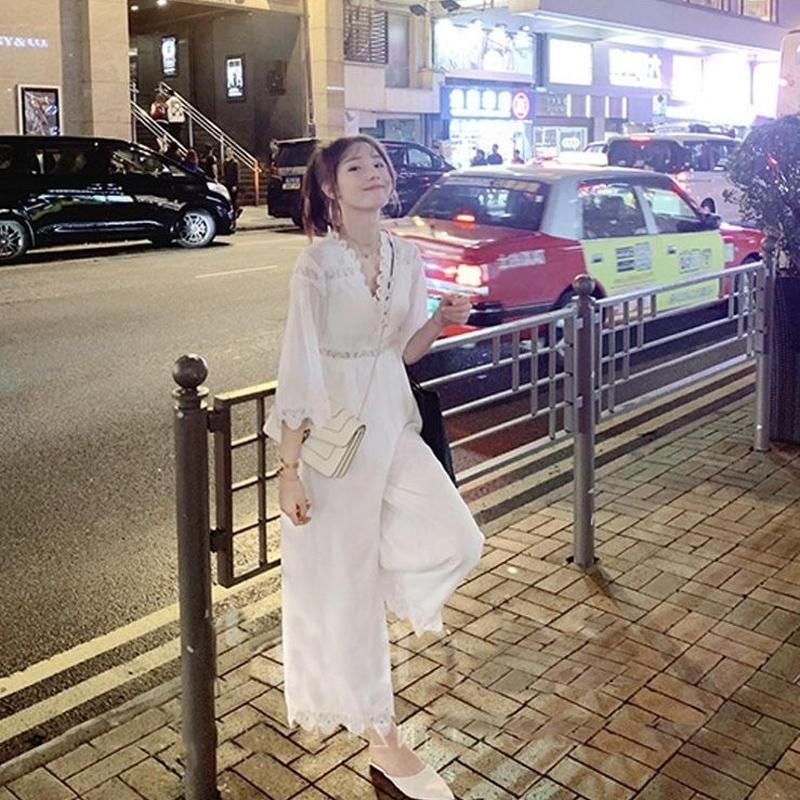 シフォン ロング丈 オールインワン 花柄 刺繍 シースルー パンツスタイル