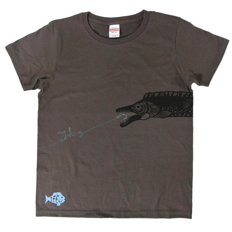 胴体を前後にまたぐ太刀魚Fishing!Tシャツ レディース