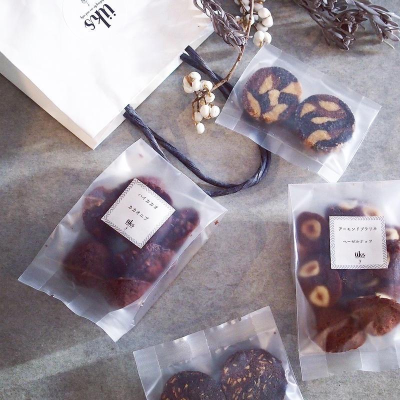 üks【バレンタイン焼菓子ギフトバッグ】ペーパーバッグ M フィナンシェ2種、クッキー2種
