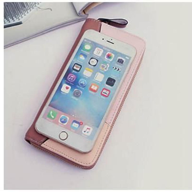 iPhone アンドロイドスマホが入るオシャレな長財布【2018 秋冬新作コーラル ピンク】