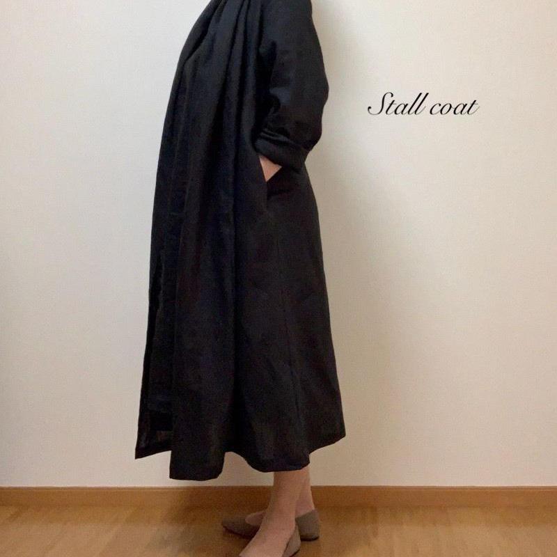 リネンのストールコート(黒)