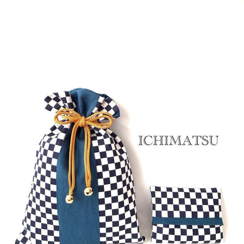 市松模様巾着とポケットティッシュカバー(青)
