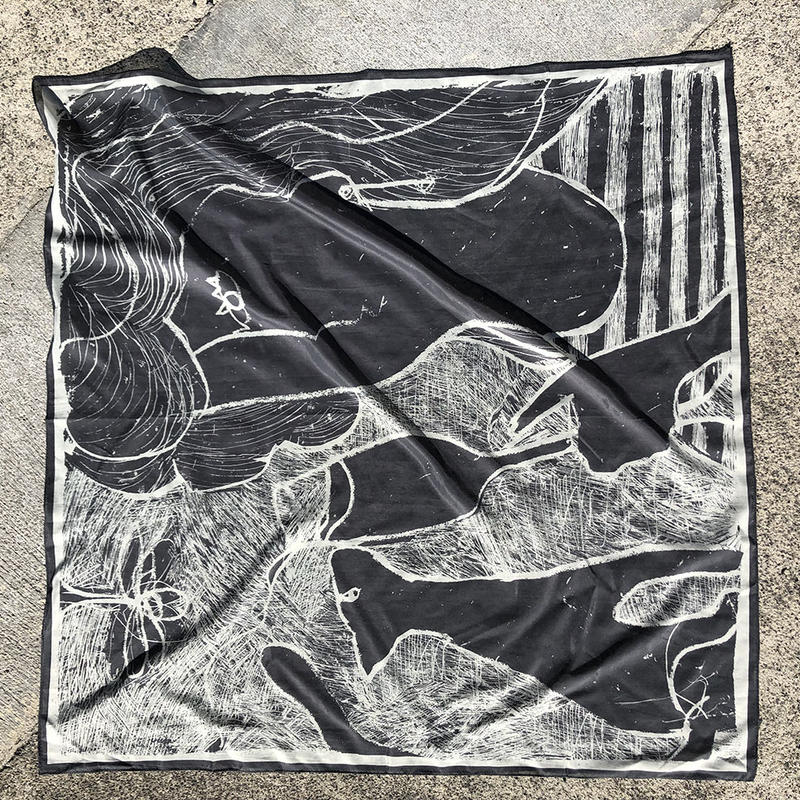 "Print scarf ""After-party""(gray)"