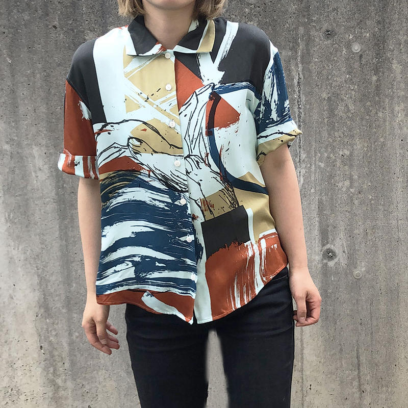 Rayon Hand Print Shirt(Blue Size:S)