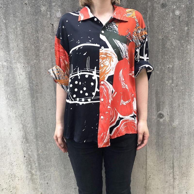Rayon Hand Print Shirt ( Black Size:M )