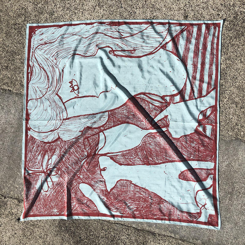 "Print scarf ""After-party"" (light blue)"